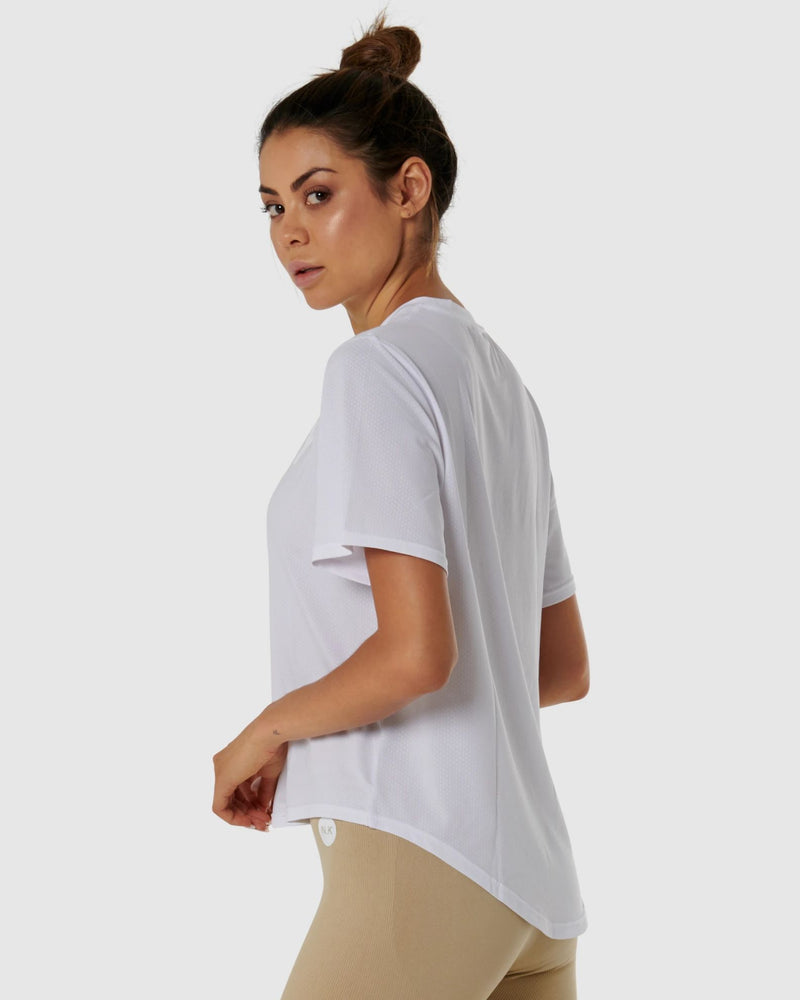 Nicky Kay Quickdry Logo Tee - White