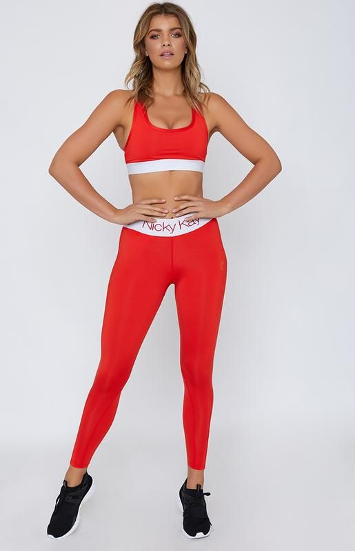 Nicky Kay FitGlam Compression Tights - Red/White