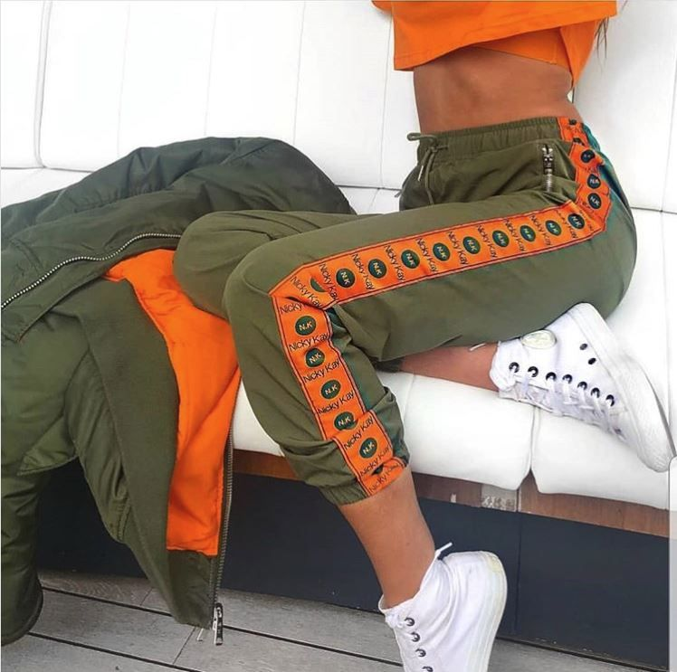Nicky Kay Logo Track Pants - Khaki/Orange