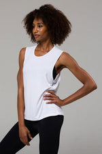 Onzie Twist Back Muscle Tank - White
