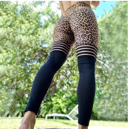 Leopard Block Sports Tights