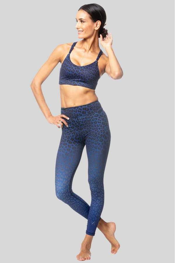Vie Active Rockell 7/8 Compression Tights - Navy Leopard Ombre