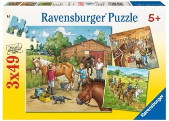 Ravensburger - A Day with Horses Puzzle 3x49pc Childrens Puzzles