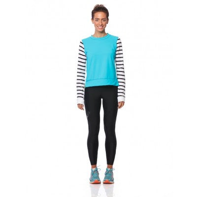 SIX30 Women's Long Sleeve Running Top - Blue/Stripe