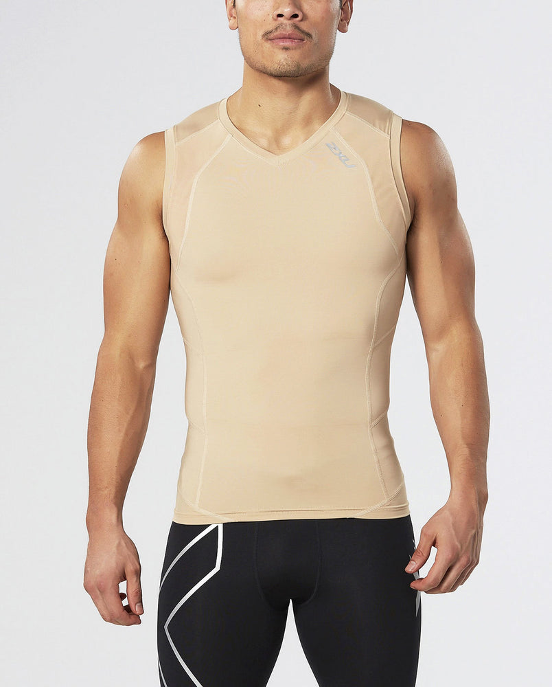 2XU Mens Compression Sleeveless Top - Black