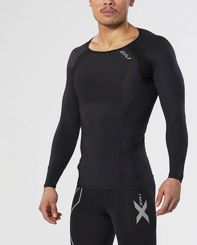 2XU Mens Compression L/S Top - Black/Silver