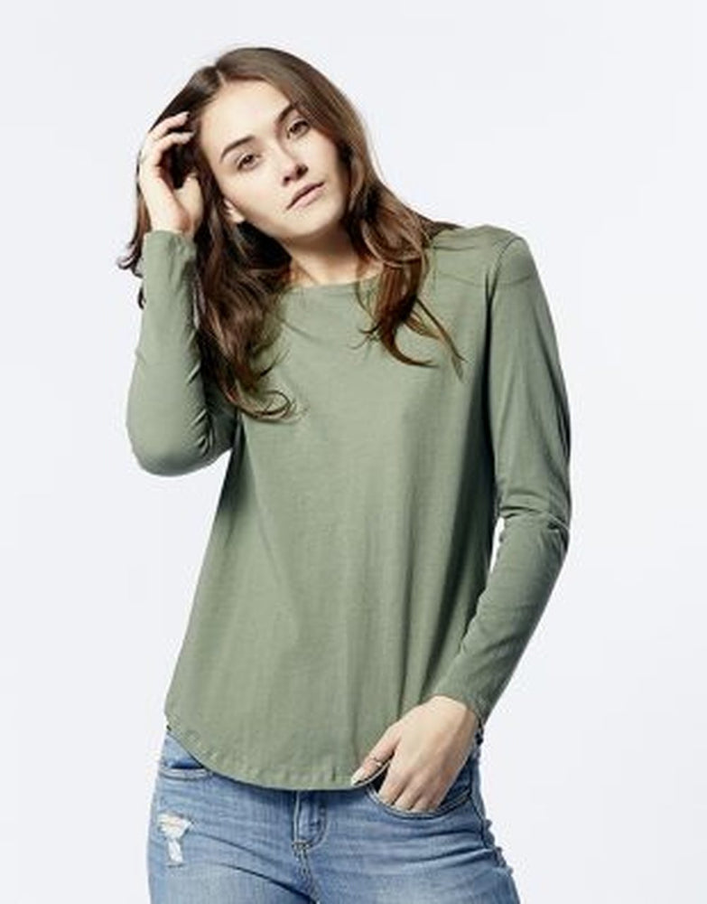 Casa Kuma Long Sleeve Saddle Hem Tee - Khaki