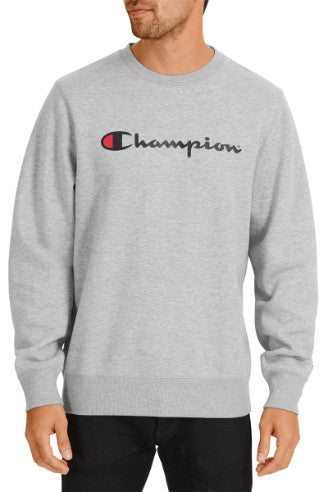 Champion Mens Script Crew Sweater - Oxford Heather
