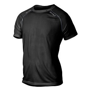 2XU MENS TECH VENT SHORT SLEEVE TOP BLACK