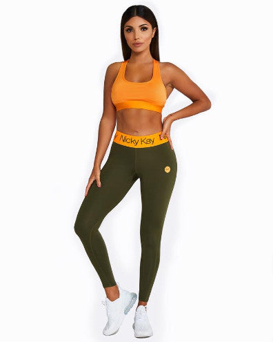 Nicky Kay FitGlam Compression Tights - Khaki/Orange
