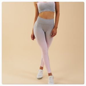 Ombre Seamless Sports Tights - Heather Grey/Pink