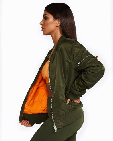 Nicky Kay Reversible Bomber Jacket - Khaki/Orange