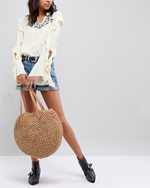 HOT DEAL: Large Circle Woven Straw Bag