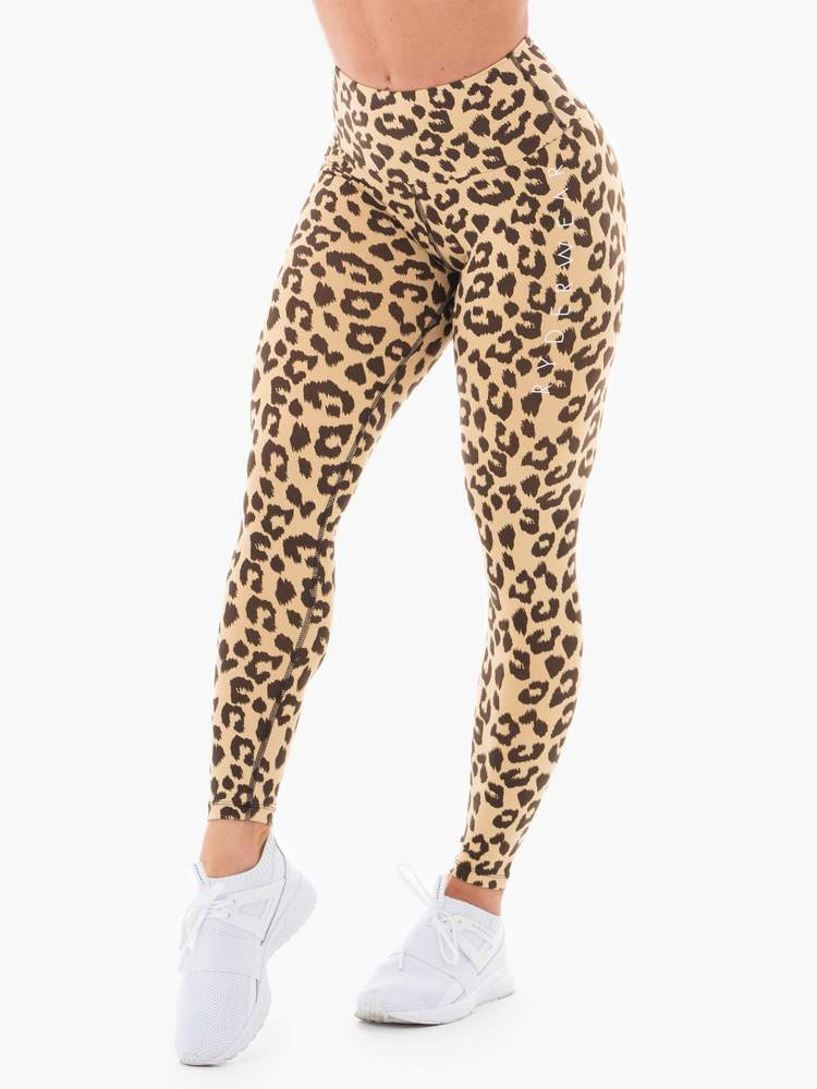 Ryderwear Animal Instincts Scrunch Bum Leggings - Tan Leopard