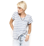 This Is First Base Scoop Neck Tee - Reverse Stripe
