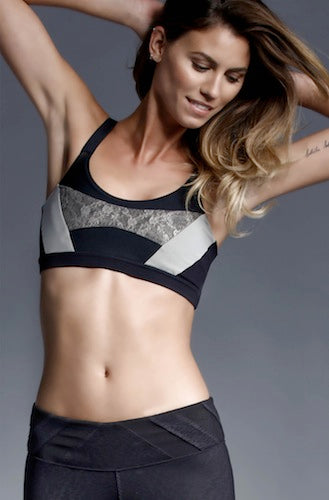 Track & Bliss Patchwork Sports Bra - Black/Grey