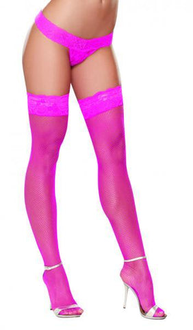 Thigh High Fishnet Hot Pink O/S