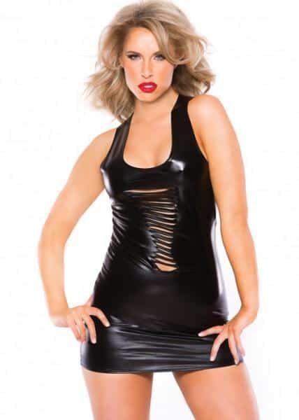 Kitten Wet Look Slashed Dress Black O-S