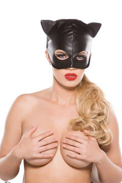 Black Faux Leather Cat Mask O-S
