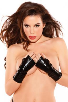 Naughty Kitten Gloves Black O-S