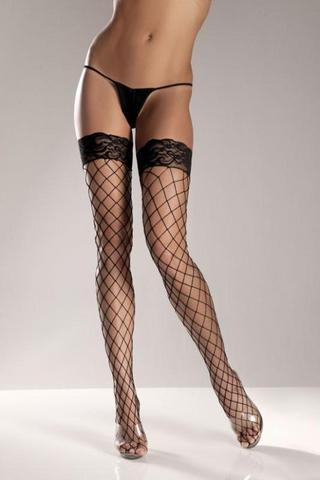 Black Spandex Thigh High Fence Net W- Stay Up Lace T0P