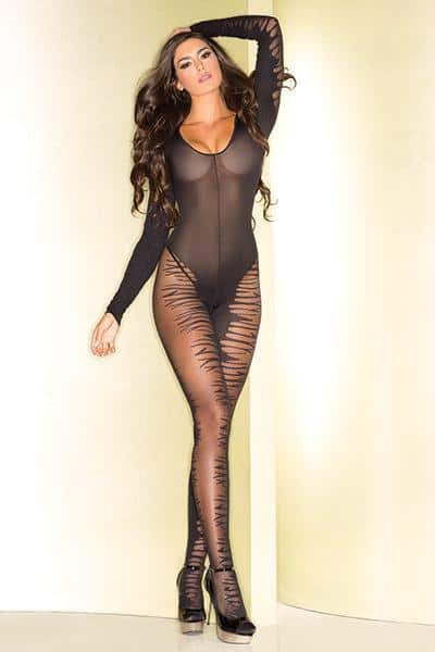 Be Wicked 76 Body Stocking O-S Black