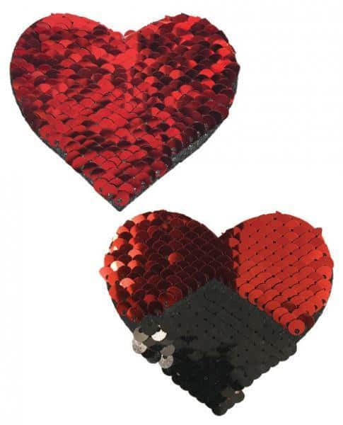 Pastease Double Sequin Hearts Red Black Pasties O-S