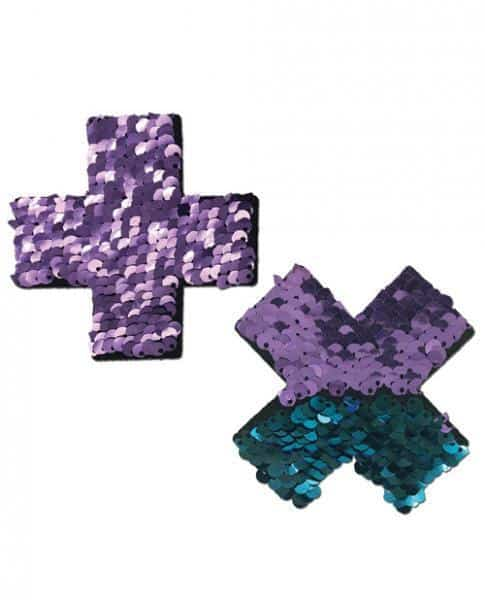 Pastease Color Changing Flip Sequins Cross Purple Blue O-S