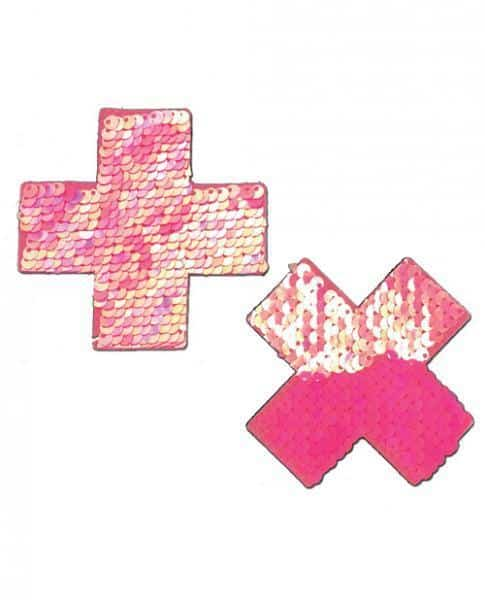 Pastease Color Changing Flip Sequins Cross Pasties Pink O-S