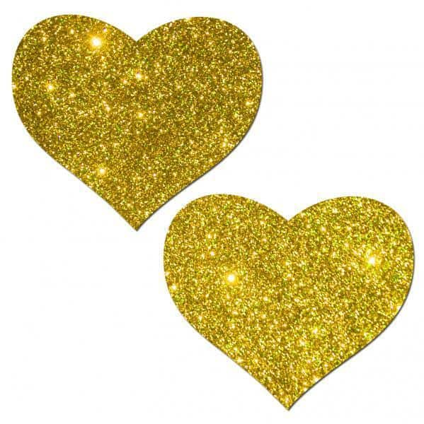 Pastease Gold Glitter Heart Pasties O-S