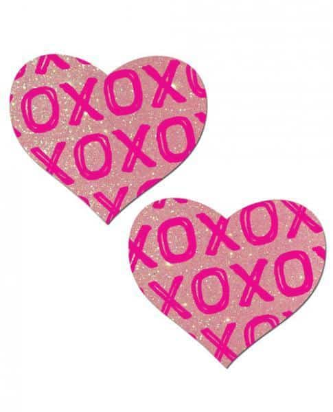 Pastease Love Glitter XOXO Baby Pink Heart Pasties