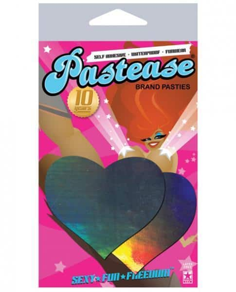 Pastease Hologram Heart Silver Pasties O-S
