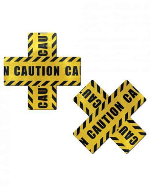 Pastease Caution Cross X Black Yellow Pasties O-S