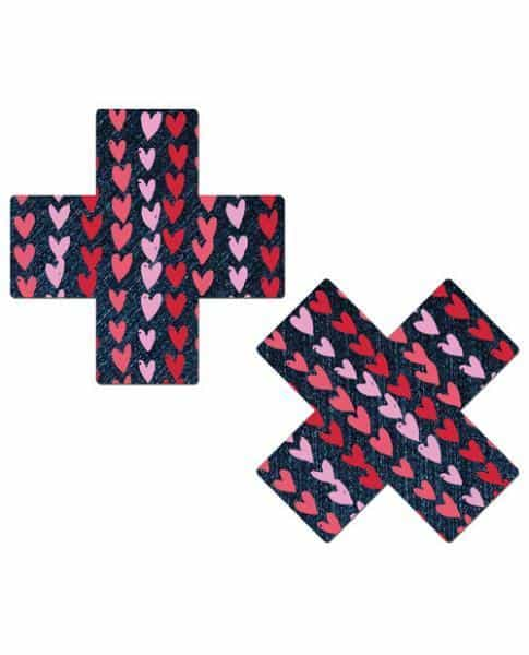 Pastease Plus with Hearts Dark Denim Pasties O-S