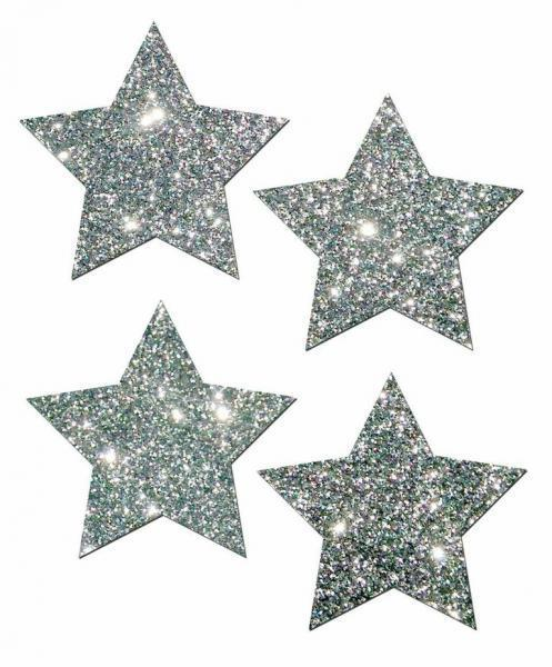 Petites Silver Glitter Star O-S 2 Pack Pasties