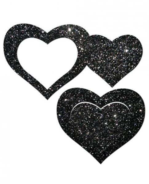 Pastease Glitter Peek A Boob Hearts Pasties Black