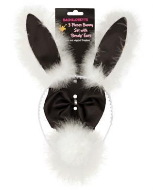 Bachelorette 3pc bunny set w-bendy ears