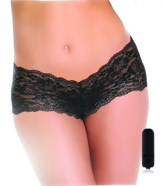 Vibrating Crotchless Panty Black O-S with Bullet