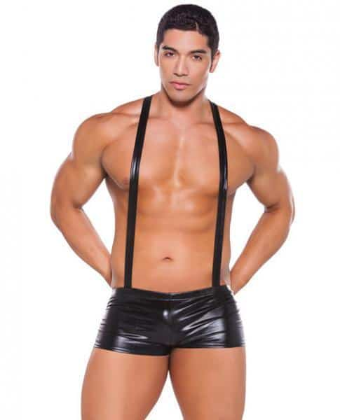 Wet Look Suspender Shorts Black O-S