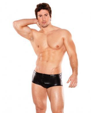 Zues wet look front zipper short black o-s