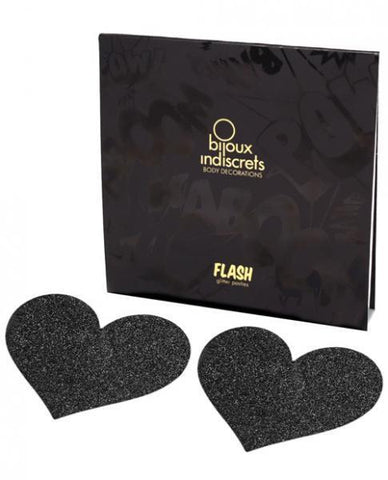 Bijoux Indiscrets Flash Heart Pasties Black