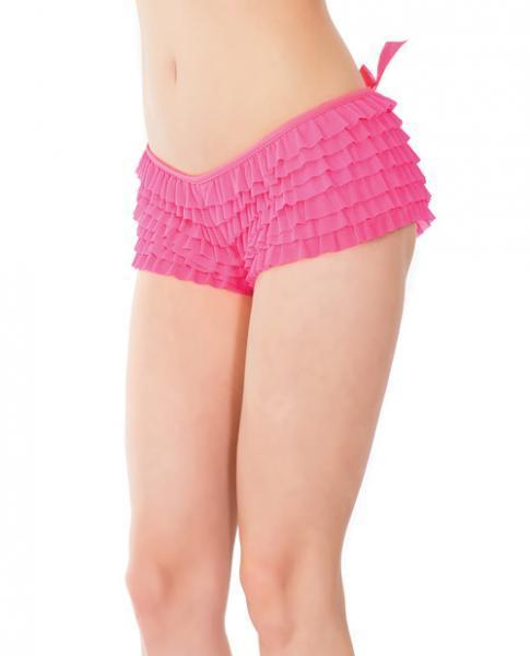 Ruffle Shorts Back Bow Detail Neon Pink O-S