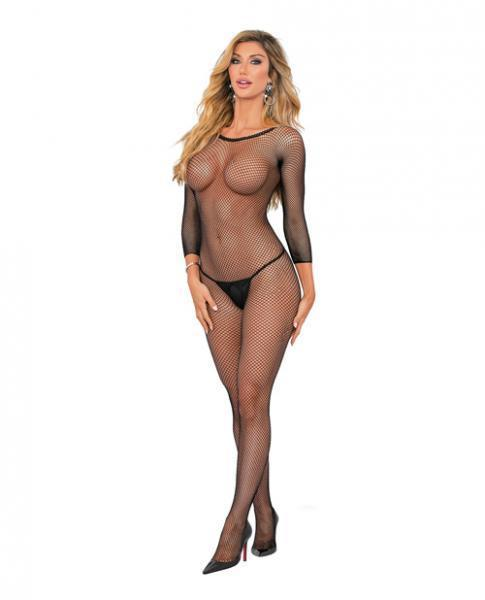 Long Sleeve Fishnet Crotchless Bodysuit Black O-S