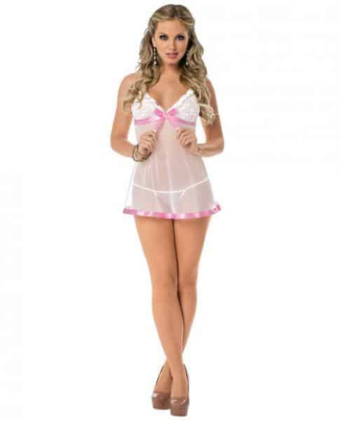 Sheer Chemise Lace Cups, Pink Trim & Panty White O-S