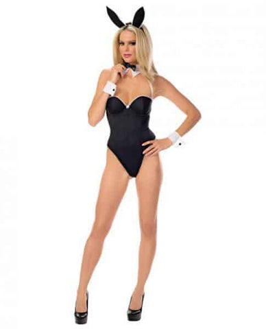 Bustier Bunny Babe Costume Black White Medium