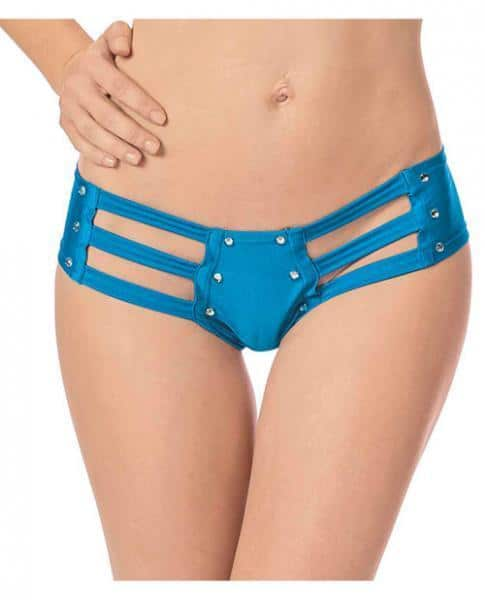 Strappy Front Back Jeweled Booty Shorts Ocean Blue O-S