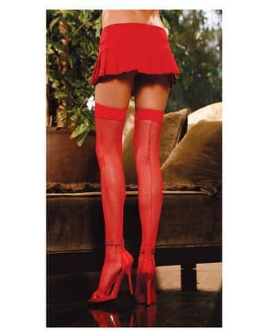 Fishnet thigh high w-back seam red o-s