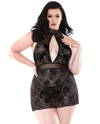 Selena High Neck Floral Lace Dress and G-String Black 3X-4X