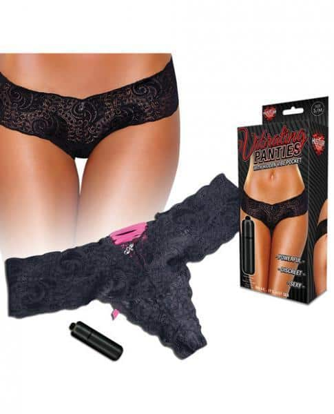 Hustler Vibrating Panties with Bullet Black M-L