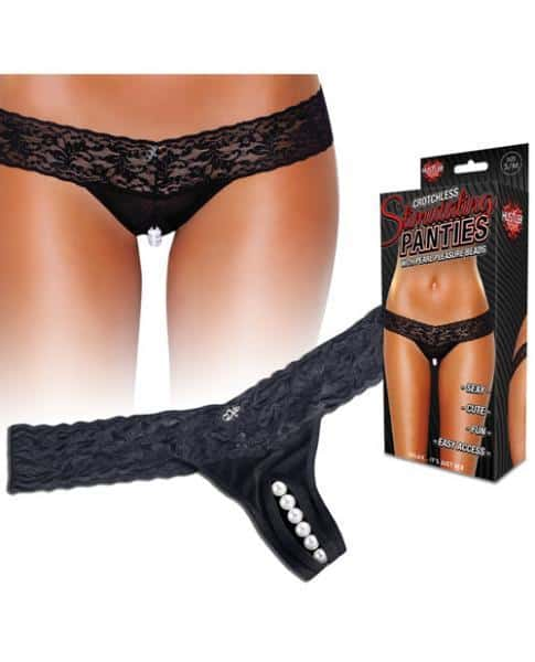Crotchless Panties Thong Pearl Beads Black M-L